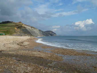 Charmouth beach with Golden Cap in the background