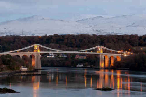 Menai Bridge with Snowdon in the background North Wales